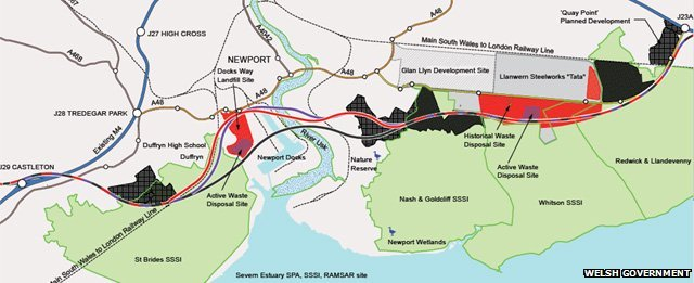 map showing M4 relief road proposals