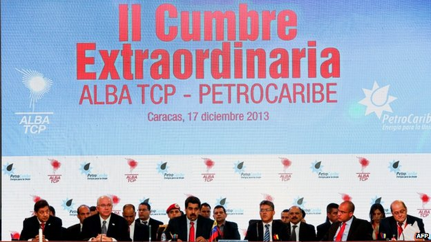 President Nicolas Maduro (centre) and leaders and heads of state of the Alliance of the Americas and Petrocaribe during the II ALBA-PetroCaribe Summit held in Caracas on 17 December, 2013