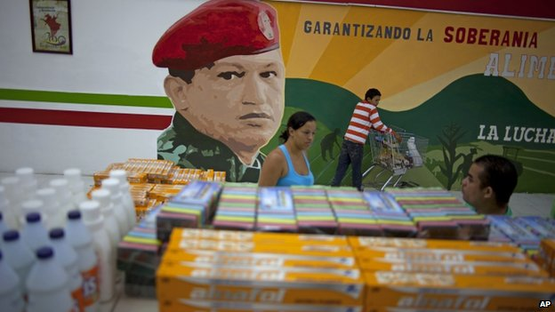 A mural of Hugo Chavez in a supermarket in Caracas