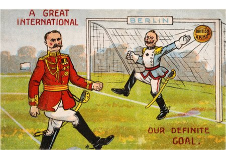 Colour illustration of a British army officer scoring a goal against a German officer, circa 1914