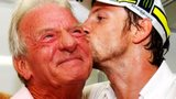 Jenson Button embraces father John