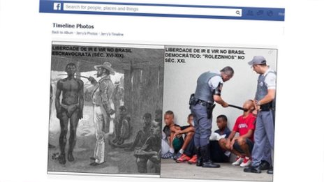 A screengrab from Facebook of an image showing a slave scene in Brazil (l) and a police officer holding a baton to the neck of one of those taking suspected of taking part in a rolezinho (r)