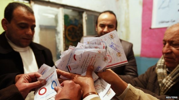 Officials count ballots after polls closed in Cairo