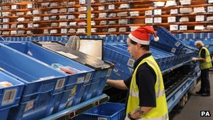 Workers before Christmas at the Argos distribution centre