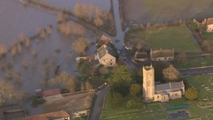 Flood-hit village of Muchelney from the air