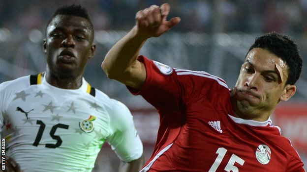 Egypt's  Mohamed Mohamed Nagy (right) in action against Ghana