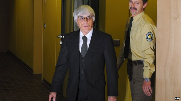 This picture taken on November 10, 2011 shows Formula One boss Bernie Ecclestone leaving the court in Munich, southern Germany
