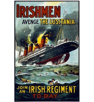 A propaganda poster about the sinking of the Lusitania