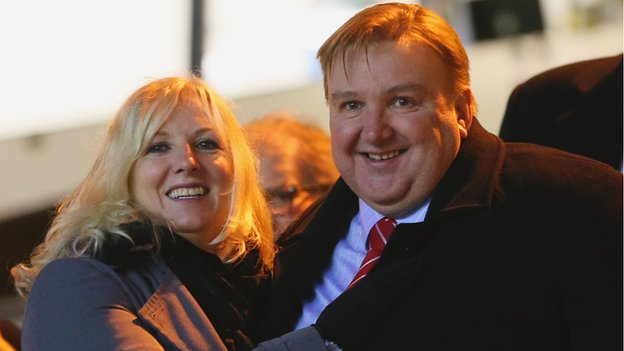Kidderminster Harriers chairman Mark Serrell and his wife, and fellow club director, Ruth