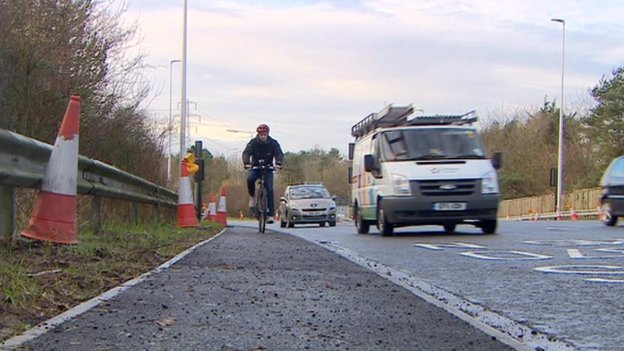 The new cycle lane in Weston-Super-Mare