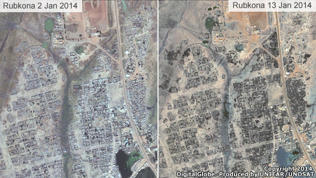 Satellite images of Rubkona, South Sudan