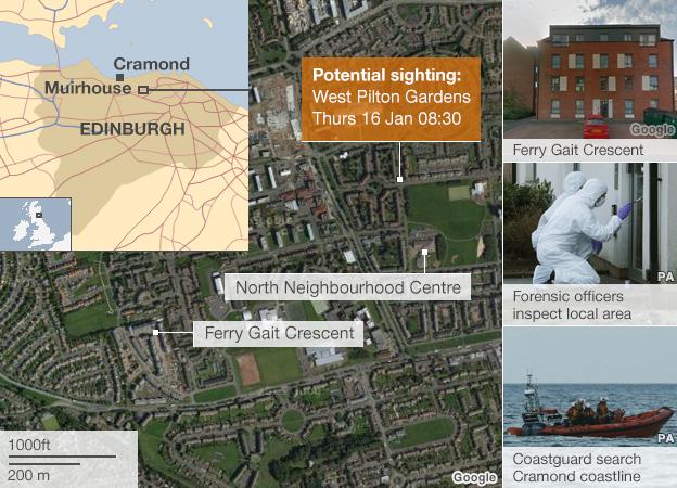 Map showing the potential sighting of Mikaeel Kular