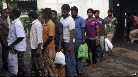 A group of Indian fishermen line up after their release from a jail in Sri Lanka 13 Jan 2014