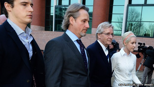 James Roache (l-r), Linus Roache, William Roache and Verity Roache