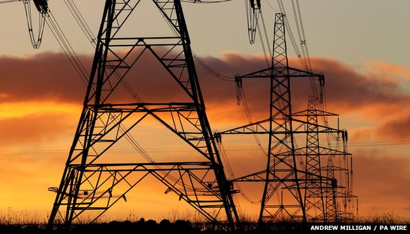 Electricity pylons at dusk