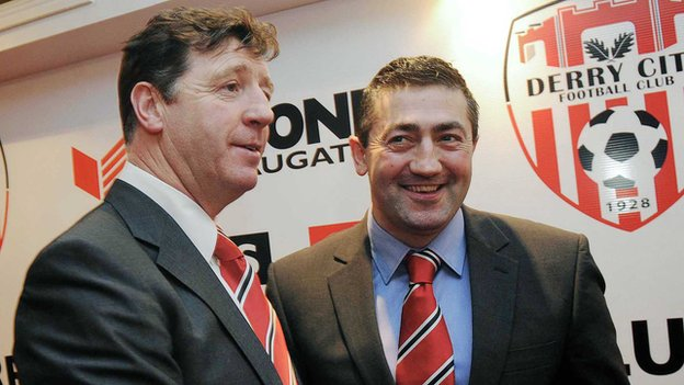 Derry City manager Roddy Collins (left) and his assistant Peter Hutton