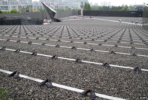 Thousands of pairs of shoes are laid out at the Nanjing Memorial, China