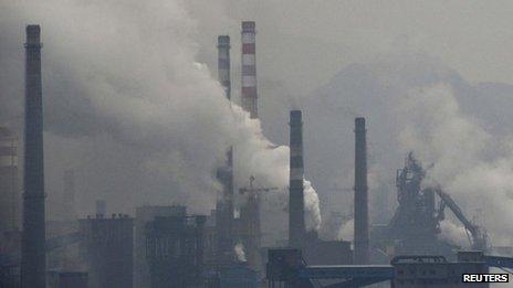 Smoke rises from chimneys and facilities of steel plants in Benxi, China. Photo: November 2013