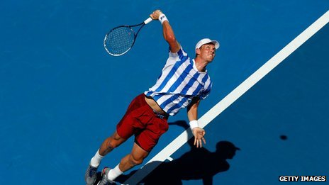Tomas Berdych of the Czech Republic serving at the Australian Open
