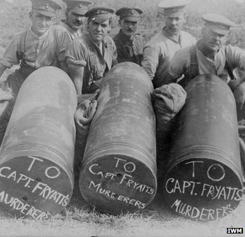 Artillery shells chalked with Fryatt's name