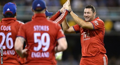 Tim Bresnan celebrates with team-mates