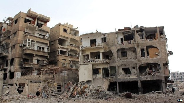 Ruined building in Daraya, Syria - 12 January