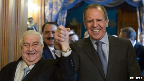 Syrian Foreign Minister Walid Muallem and Russia's Sergey Lavrov - 17 January