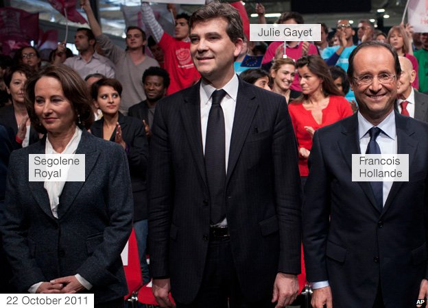 Francois Hollande and Segolene Royal at a French Socialist meeting, with Julie Gayet in the background, 22 October 2011