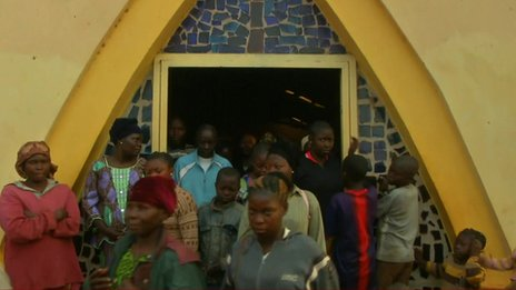 Displaced families at a Catholic Church