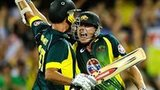 James Faulkner and Clint McKay celebrate Australia's victory