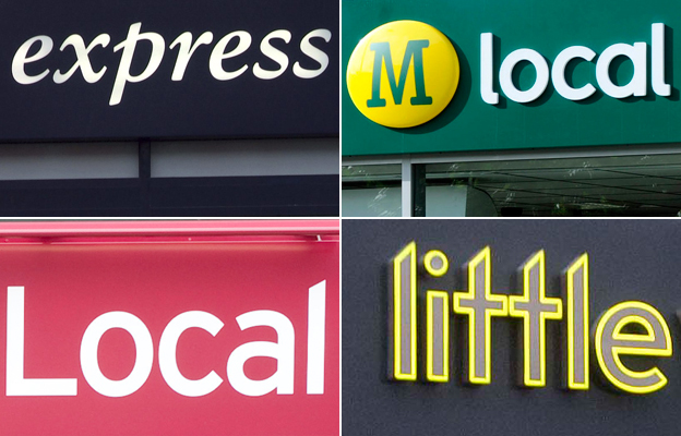 From top left: Tesco Express, Morrisons Local, Little Waitrose, Sainsbury's Local. Photos: Tesco, Sainsbury's, Morrisons, Waitrose