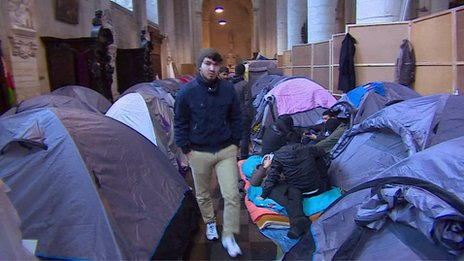 Camp for Afghan asylum seekers inside a church in Brussels