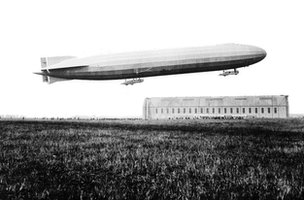 A Zeppelin taking flight