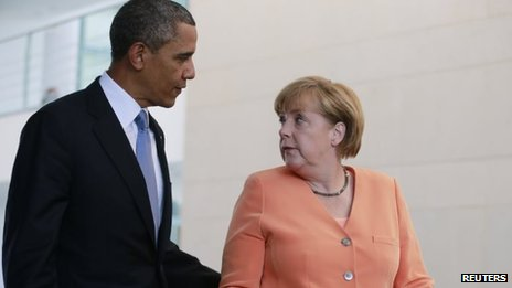 President Obama and Chancellor Merkel in Berlin. File photo