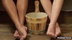 legs in sauna