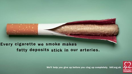 The graphic image of the consequences of cigarette smoking in advertising