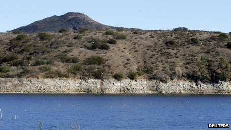 The receding water line of Lake Hodges is seen in San Diego County 17 january 2014