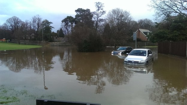 Flooding on Fairway, Copthorne, near Crawley, East Sussex, 17/01/2014
