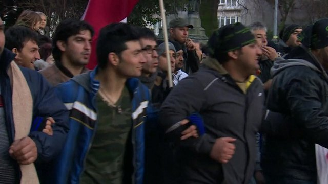 Afghan asylum seekers protesting in Belgium