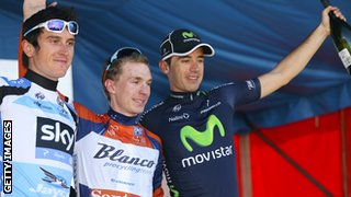 Tour Down Under winner Tom-Jelte Slagter is joined by Geraint Thomas and Javier Moreno in 2013.