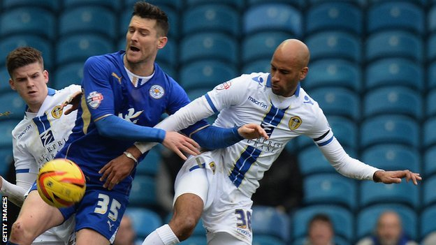 Leicester City matchwinner David Nugent is crowded out at Elland Road