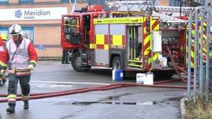 Nottinghamshire Fire and Rescue service at industrial unit in Sutton-in-Ashfield