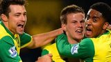 Norwich celebrate their late winner against Hull