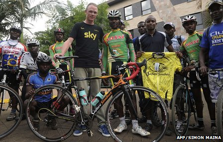 Chris Froome with David Kinja and hiss former racing team, the Safari Simbaz