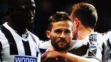 Newcastle's Yohan Cabaye celebrates after scoring