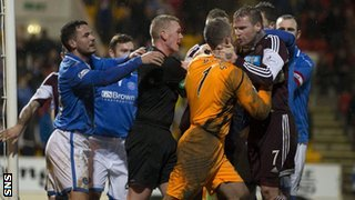 St Johnstone and Hearts players