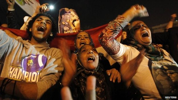 Supporters of the constitution celebrate in Tahrir Square, Cairo, 18 Jan