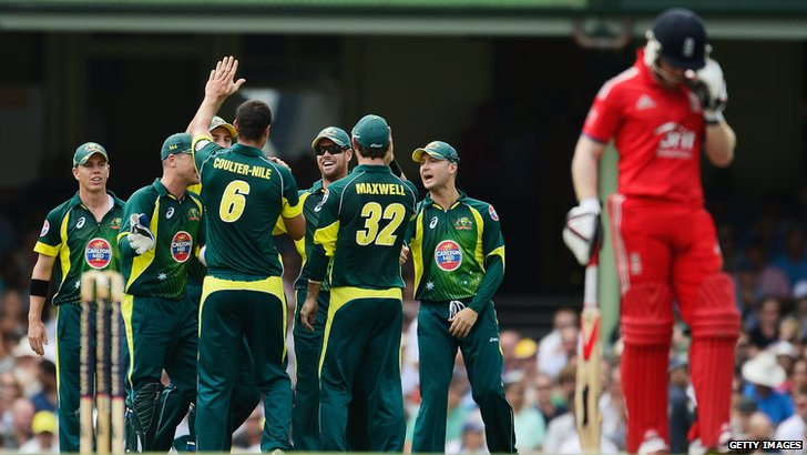 Australia celebrate the dismissal of Gary Ballance