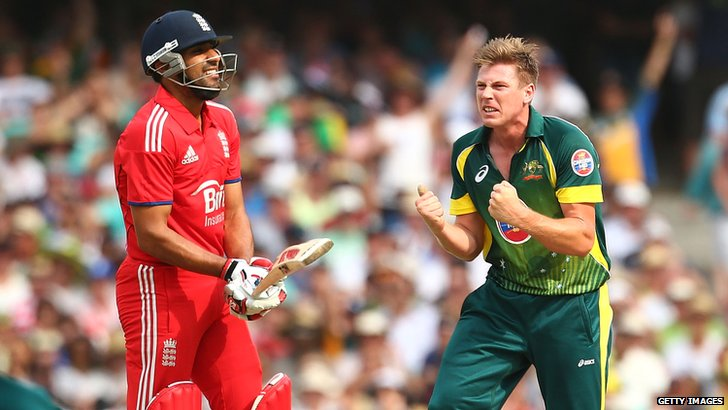 James Faulkner celebrates after dismissing Ravi Bopara