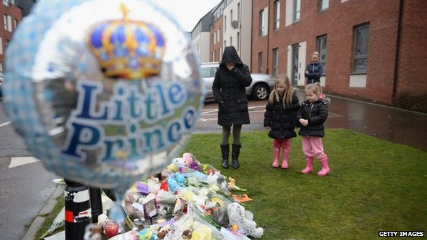 Flowers left outside Mikaeel's home in Edinburgh